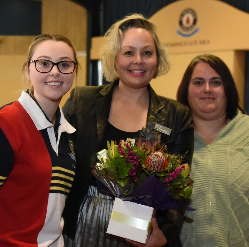 Our guest author, Yvette Poshoglian, with Payten of Year 12 and Mrs Tanginoa
