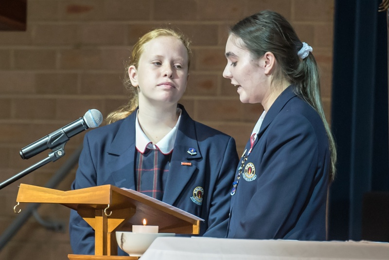 Natalie M (College Captain) and Sarah W (Year 7 Student)