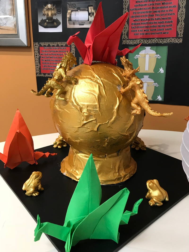 Sienna S, Hayley C and Mia C's exhibit on the Ancient Chinese Earthquake Detector