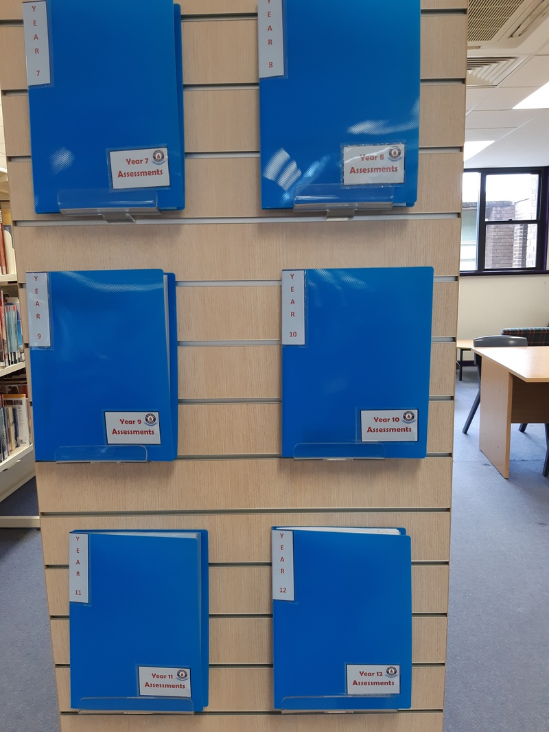 Assessment task folders for each year group