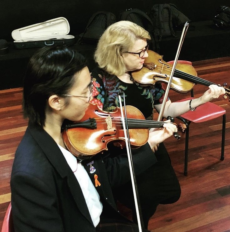 Angelina T (Yr 12) with mentor Leone Ziegler from the Sydney Symphony