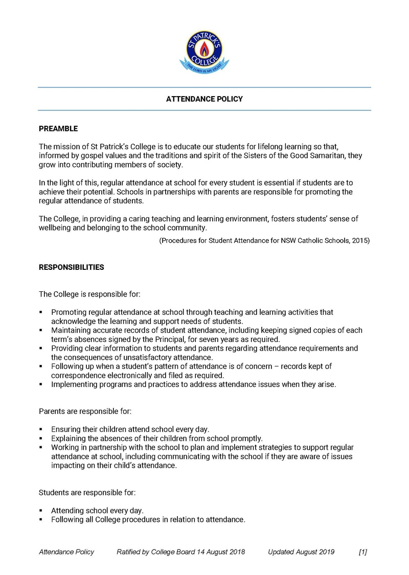 Attendance Policy - Page 1