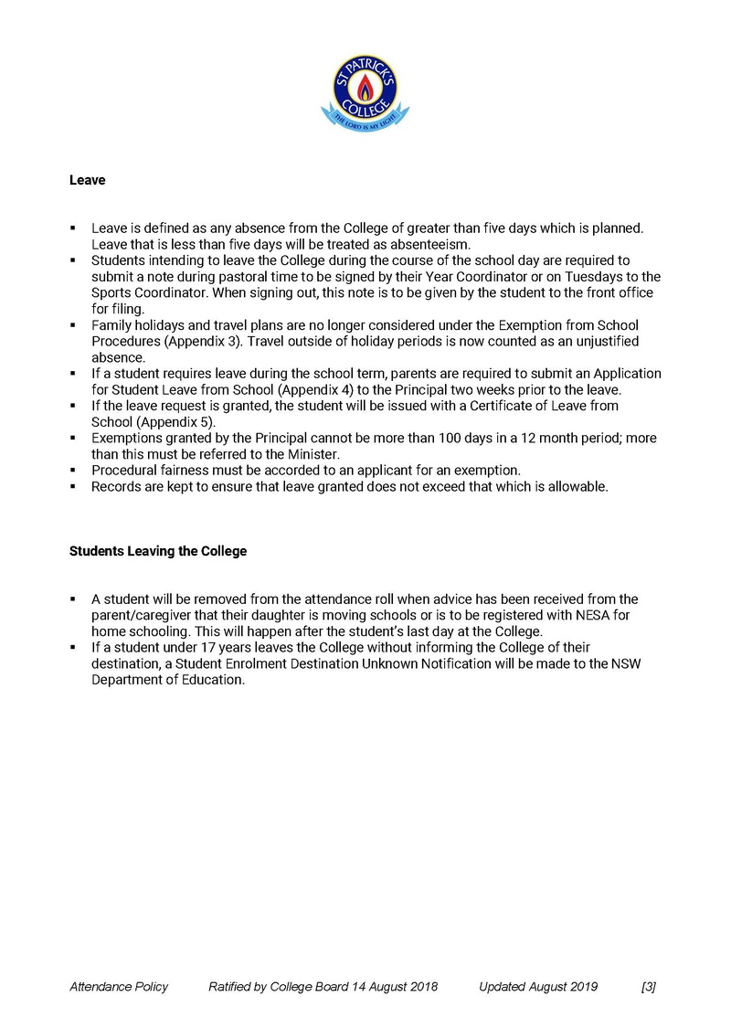 Attendance Policy - Page 3