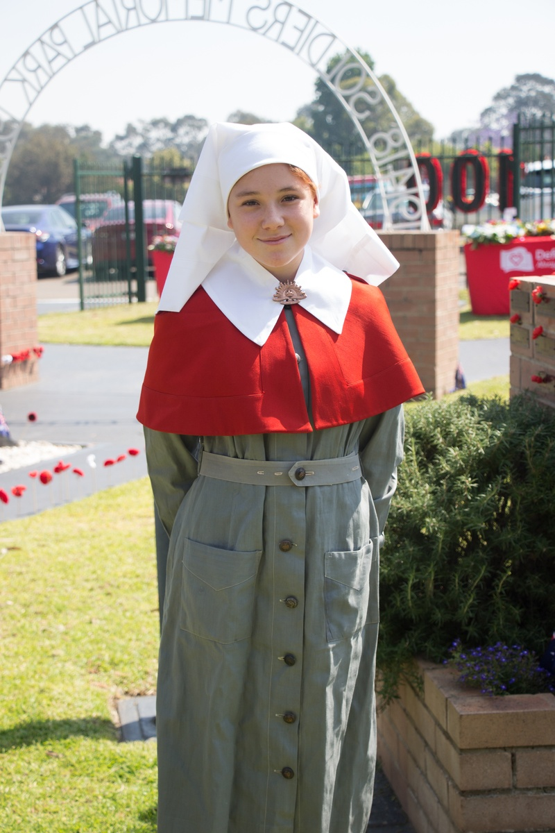 Layla B in authentic World War II outfit as worn by Sr Haultain