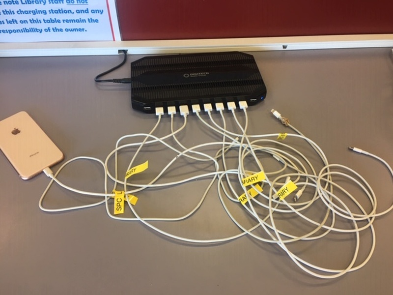 This USB charging station will be relocated to the orange pillar in the library